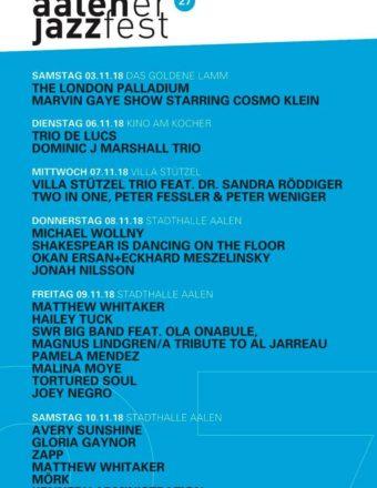 Aalener Jazz Festival 2018 Programm copy